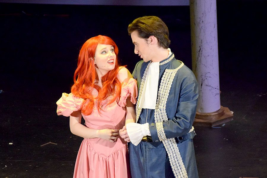 Ariel (Jenna McMains) and Prince Eric (Nicholas Hagen) prepare to share a dance