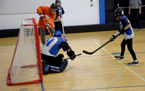 Nolan Engelbertson makes a save during the game.