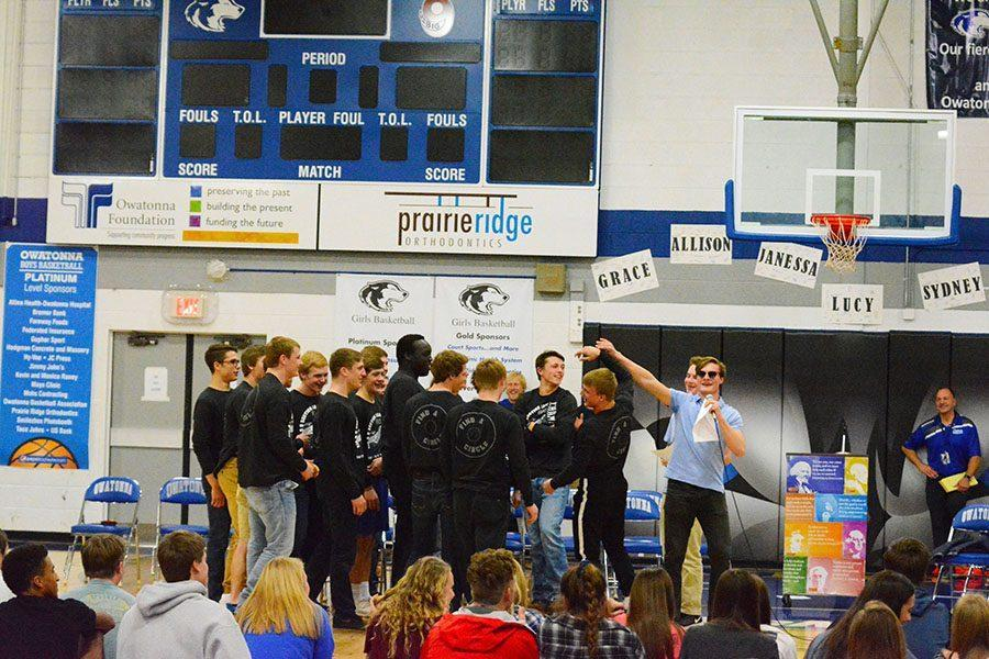 Nick Sande brings the hype for the wrestling team's send off.