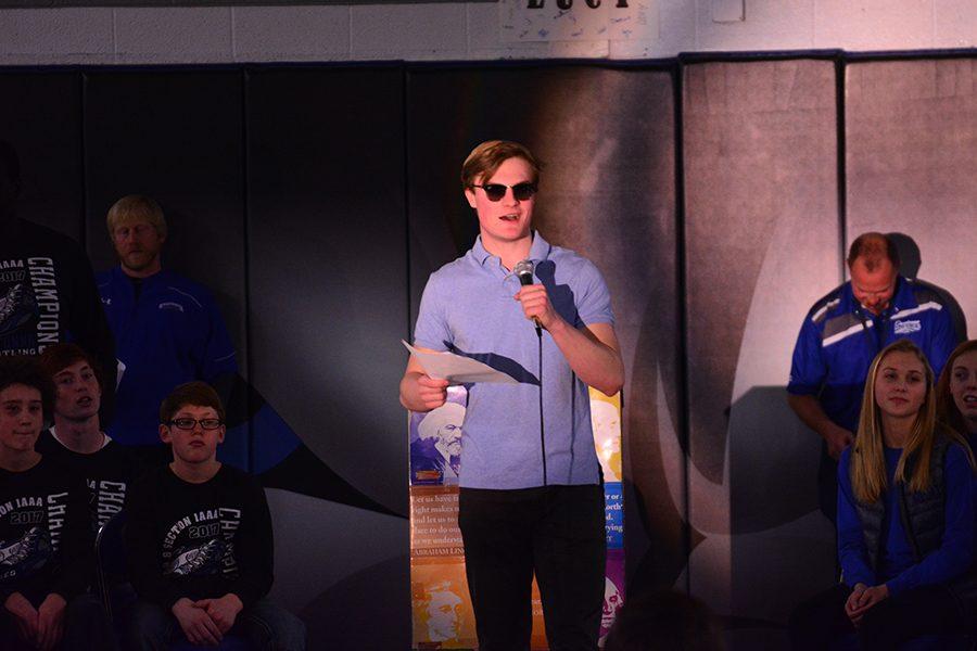Student council member Nick Sande hosts the pep fest.