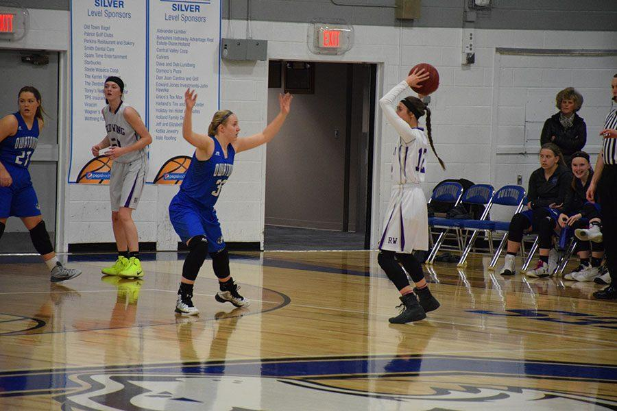 Junior Stephanie Liebl playing defense against Red Wing
