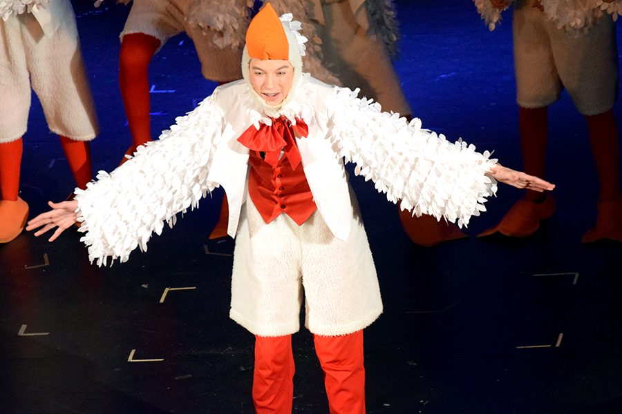 Scuttle (Evan Peterson) and his gull friends help Ariel learn how to stand.