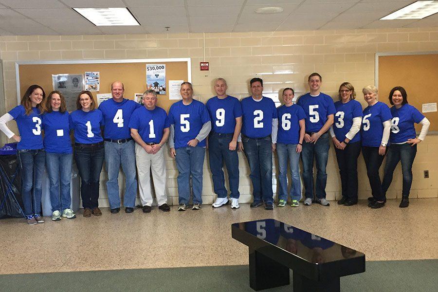Math+Teachers+posing+in+their+Pi+Shirts