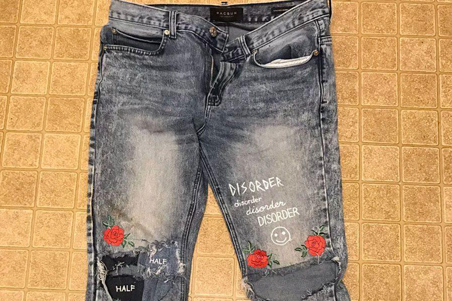 Disorder, patchwork, and ironed roses jeans.