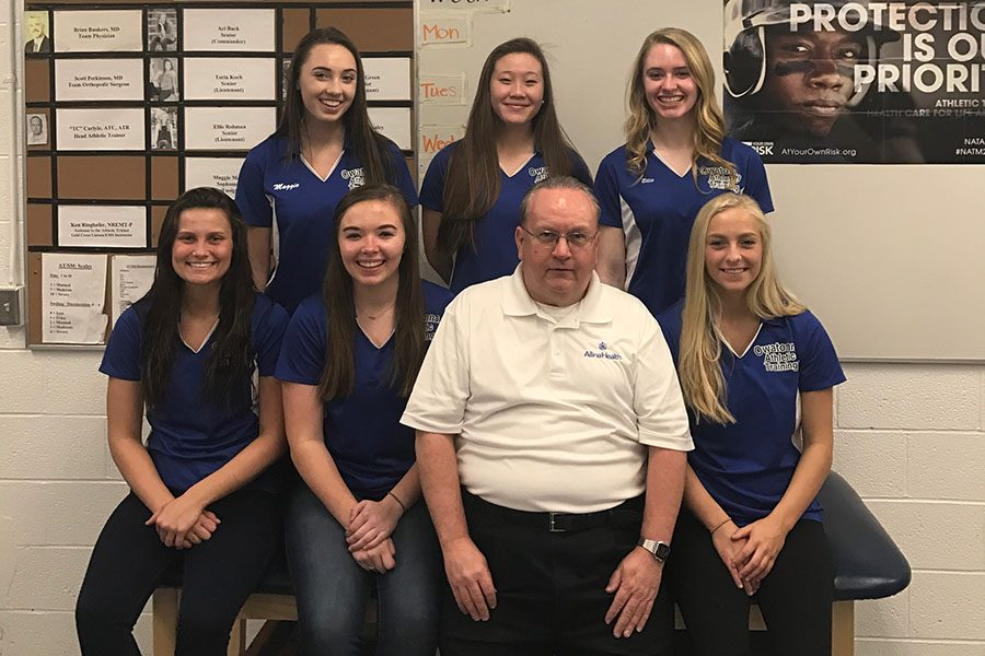 Athletic Training Staff: (Left to Right) Front Toria Koch, Ari Buck, TC, Ashley Green Back Maggie Marks, Callie McCalley, Ellie Rohman