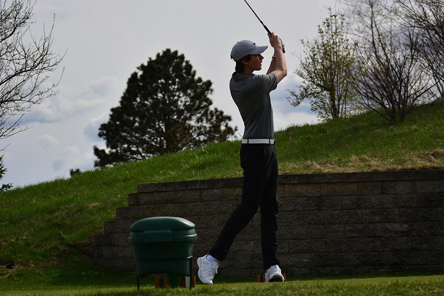 Junior Corey Gander watches his shot