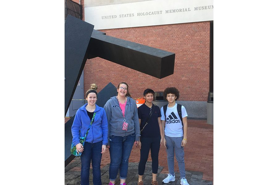 Caitlin Anderson, Makenzie Schmidt, Autumn and Austin Ress outside the Holocaust Museum.