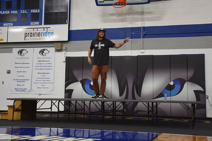 Mike Smith on stage talking to the OHS student body.