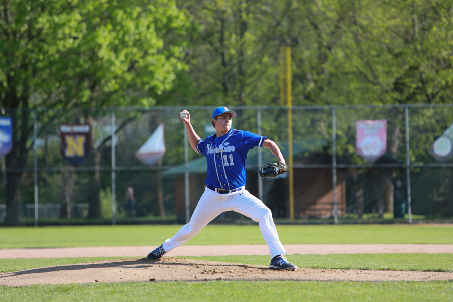Brady Schuster throws a pitch during the game