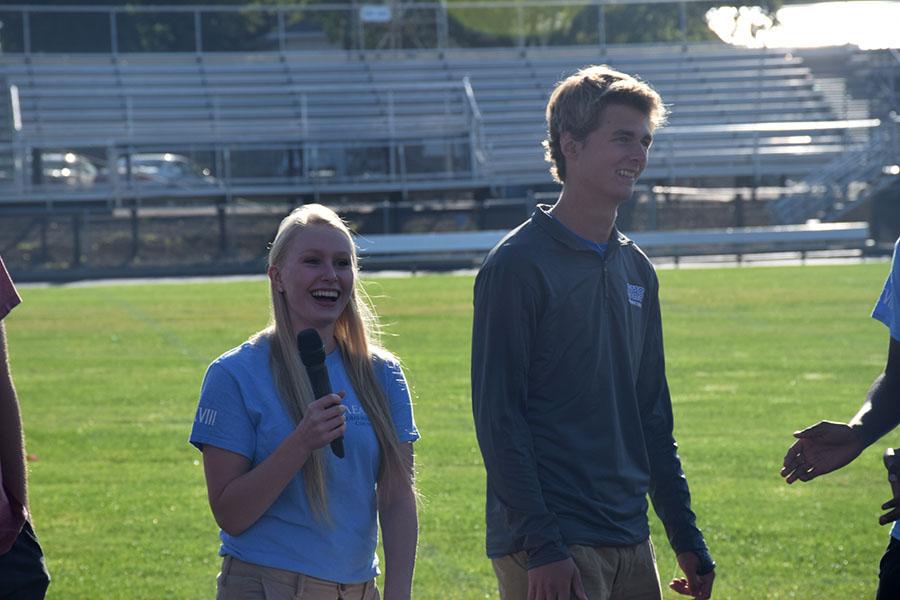 Senior Brayden Meier and Senior Kjerstin Anderson announcing themselves as student council members