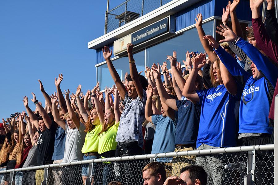 Senior pep fest section cheering