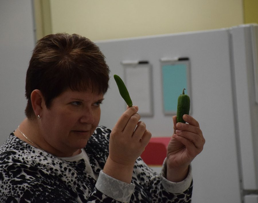 Ms. Lage shows Culinary Club some ingredients