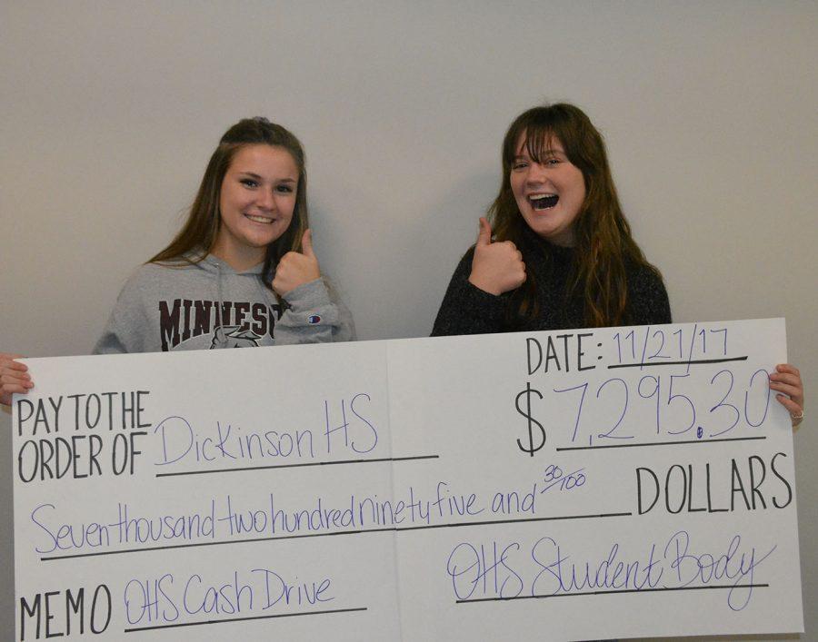 Cash Drive feature photo. Lauren Arthur (senior) and Cameron Bartz (sophomore)