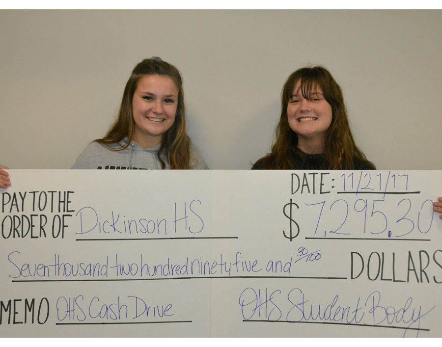 Cash Drive feature photo. Lauren Arthur (senior) and Cameron Bartz (sophomore)