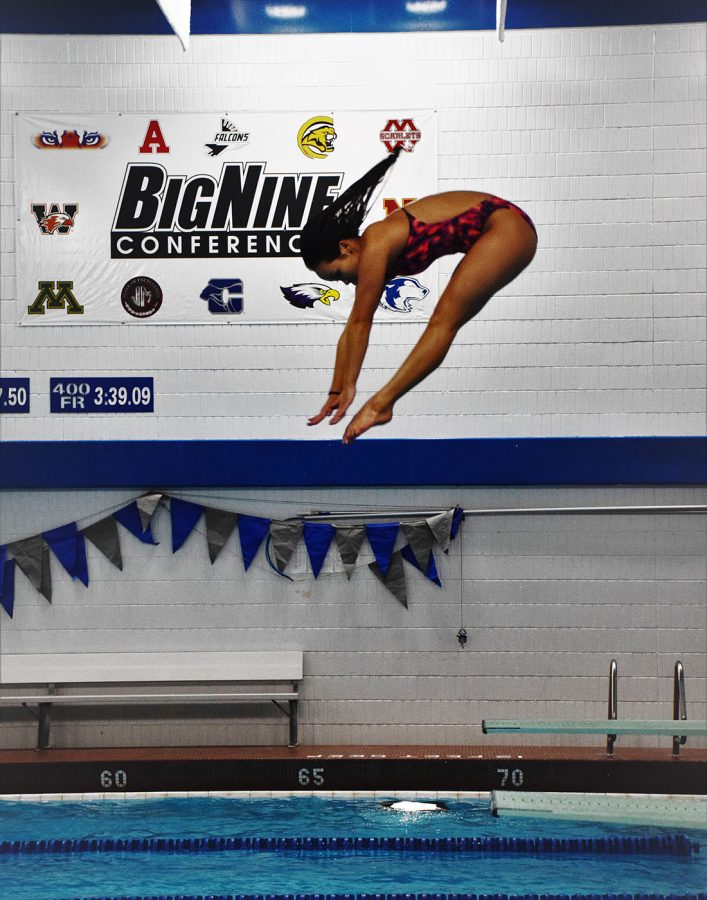 Junior Allison An in pike position off of the board. An will start pre-lims Thursday