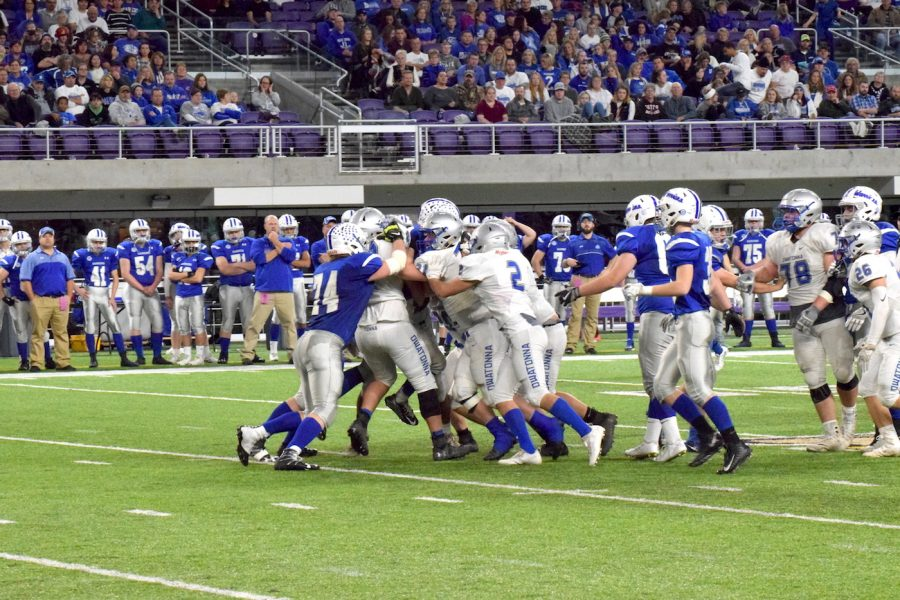 Owatonna defenses favorite pastime - pushing back the offense