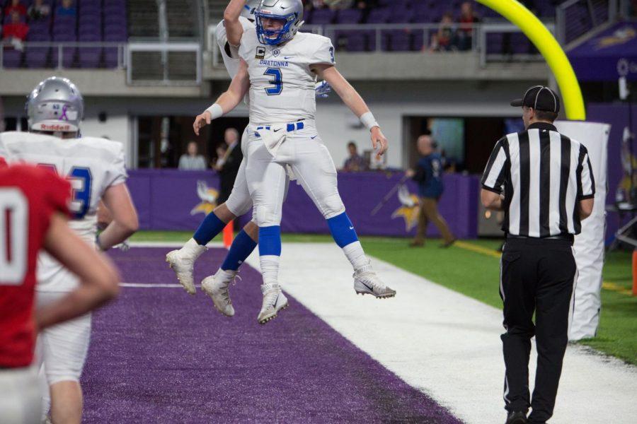Abe Havelka and Matt Segler leap post touchdown