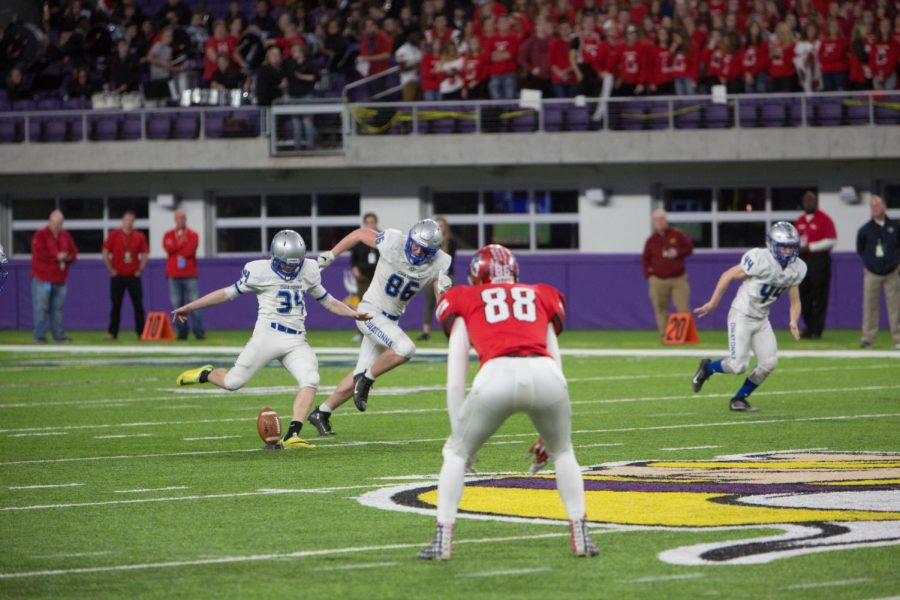 Josh Nelson kicks to start another Elk River possession