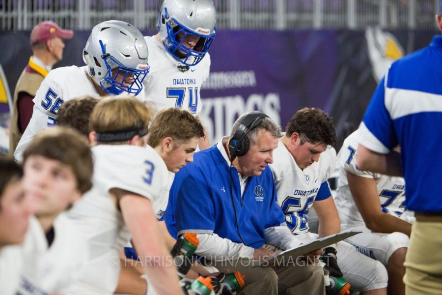 Coach Wanous reviews plays with the offensive line