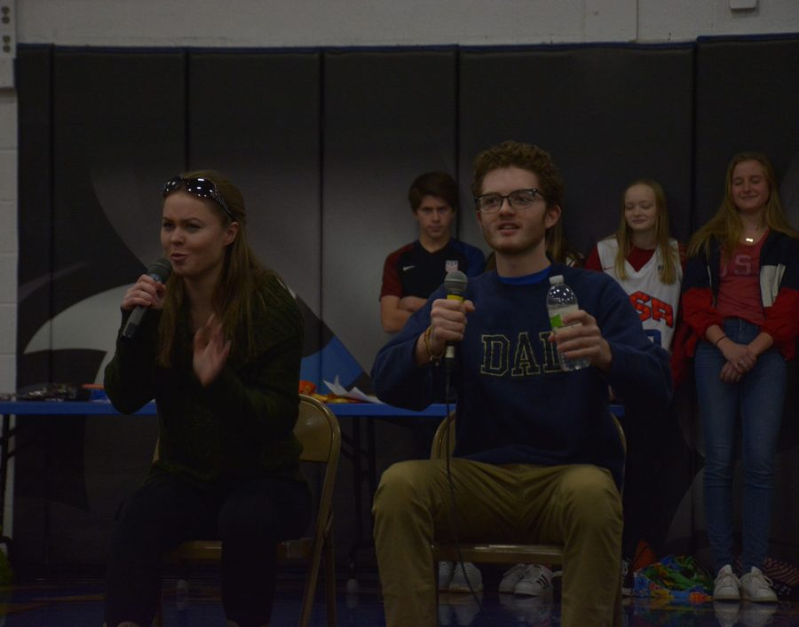 Greta Jacobson (Left) and Matt Bueltel drive in a car during Jacobson's skit