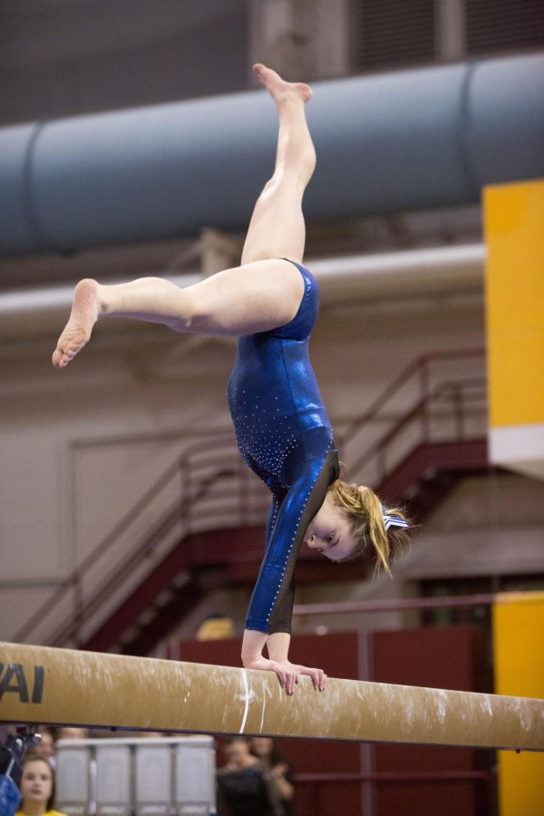 Lucy Matius on the beam during her routine