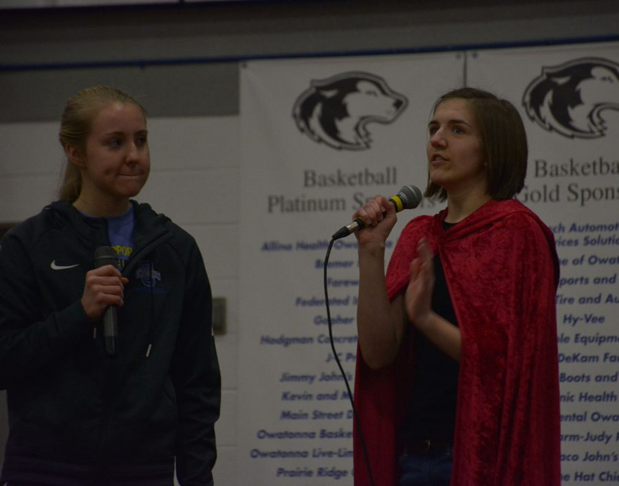 Claire Borgerding and Steph Liebl perform a skit