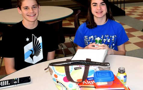 Lauren Phelps (right) and Ethan Hunt (left) during the A Lunch period