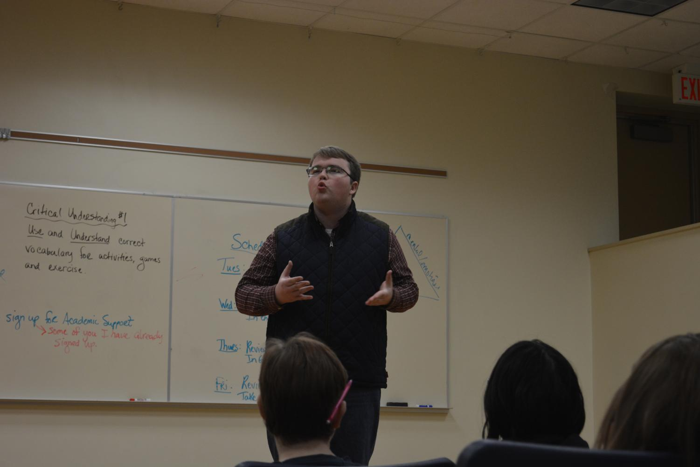 Sheldon Jensen giving his speech