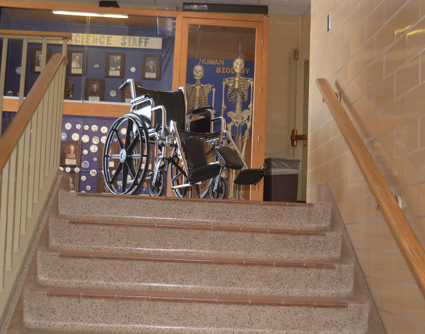 Wheel Chair at the top of the science stairwell