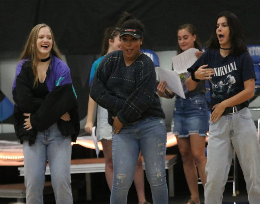 Dancing to the 90s at the Homecoming Pepfest