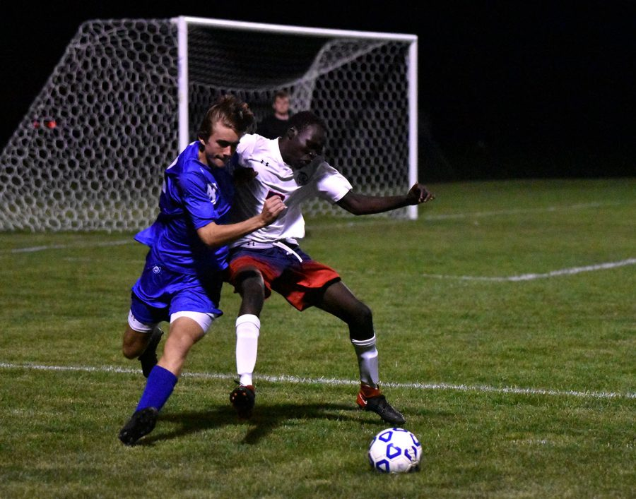Sophomore Aaron Bangs battles for a ball