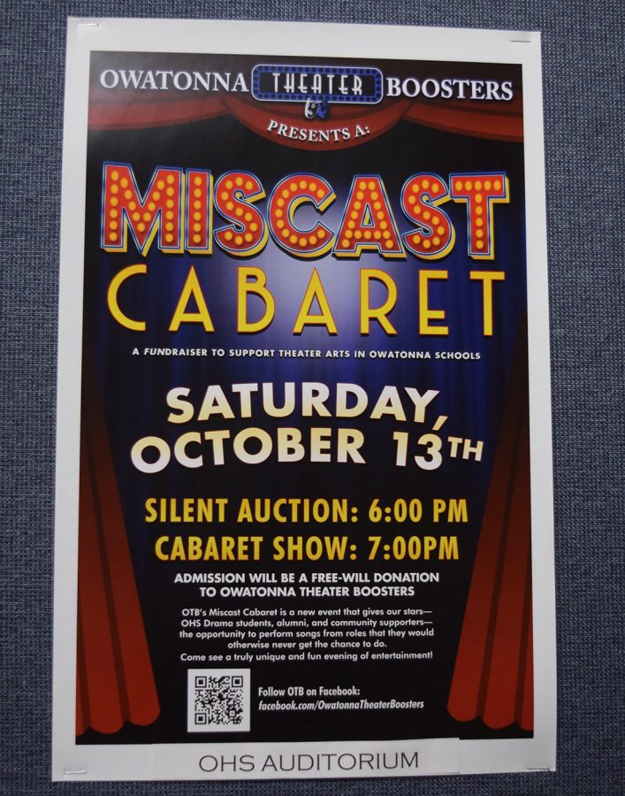 The silent auction will be on Saturday at 6 p.m followed by the Cabaret at 7 p.m. Donations go to the Owatonna Theater Boosters Club.
