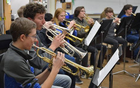 The trumpets practicing during band class