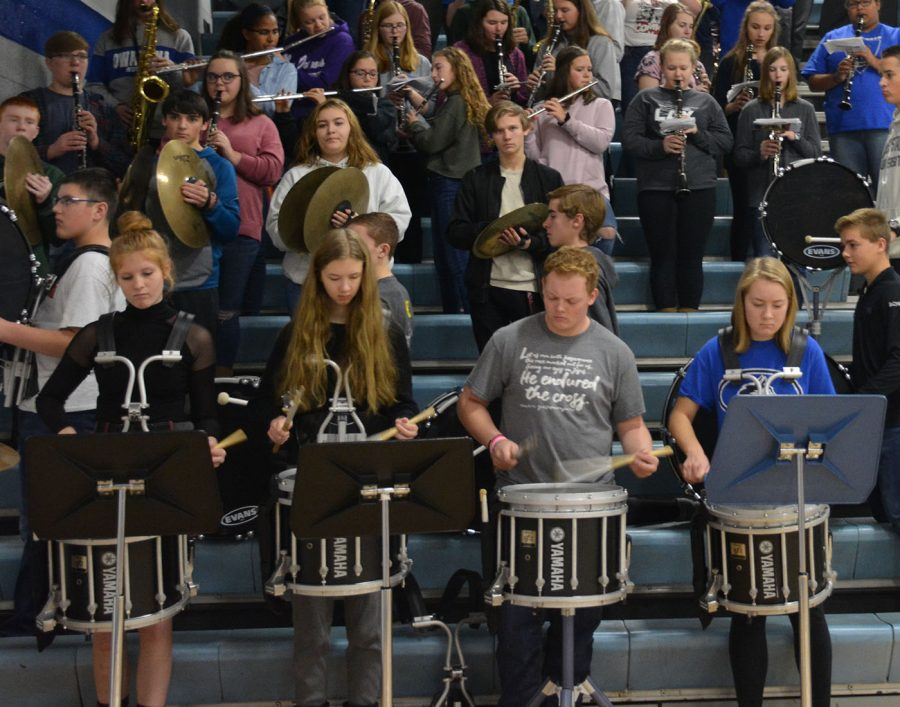 The band performing at the pepfest