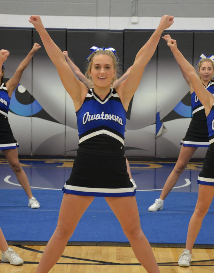 Lily Redman cheering during the pepfest