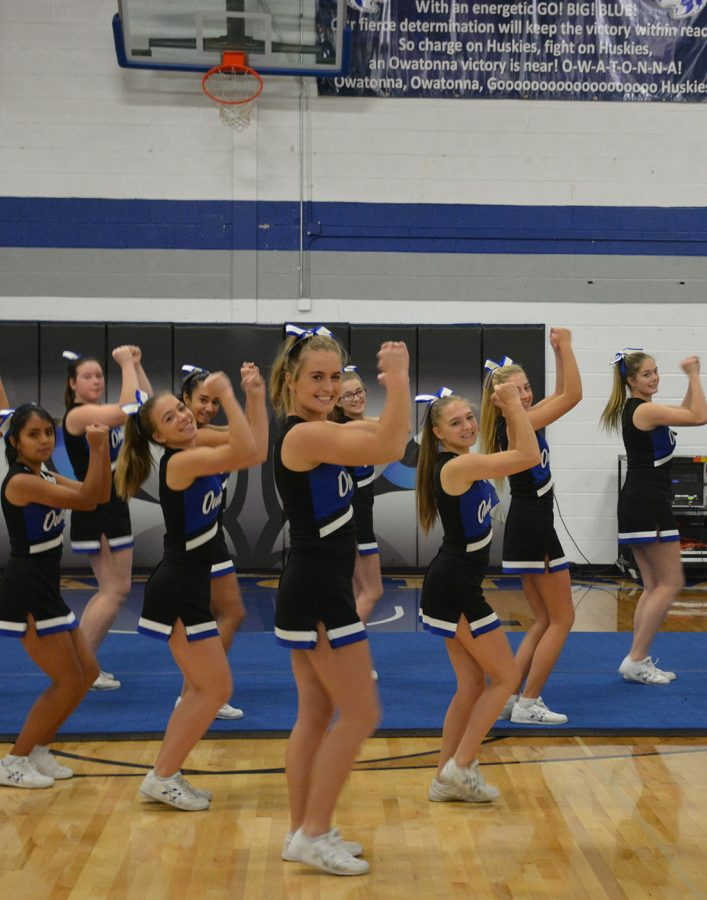 Lily Redman leading the cheerleaders during the pepfest