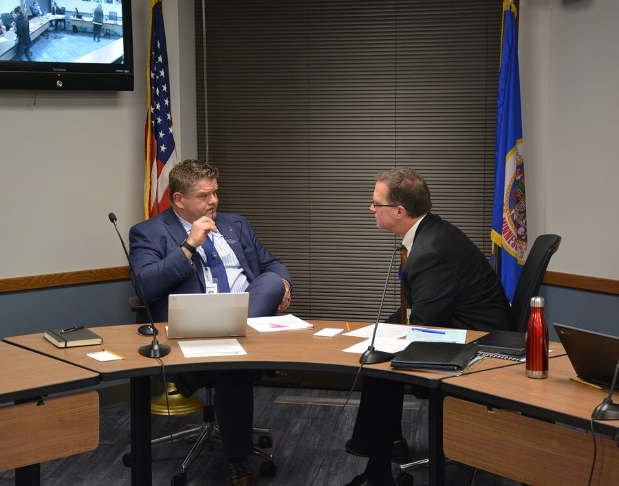 Superintendent Mr. Jeff Elstad discusses the master plan with School Board Chairman Mr. Mark Sebring
