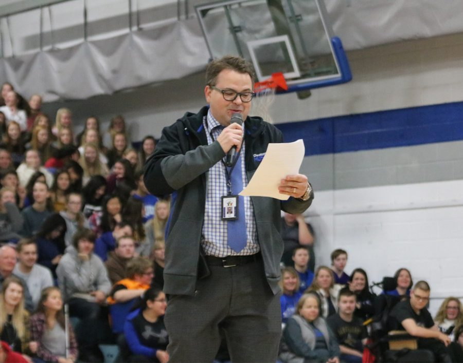 Mr. Wiken rapping at the pep fest