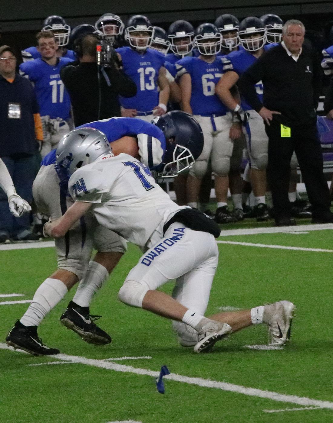 Mason+Rhoades+makes+a+tackle+on++the+punt