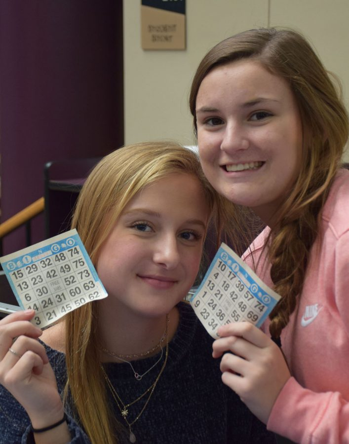 Student Council members Liv Larson and Camryn Bartz are ready for Wednesdays Bingo activity