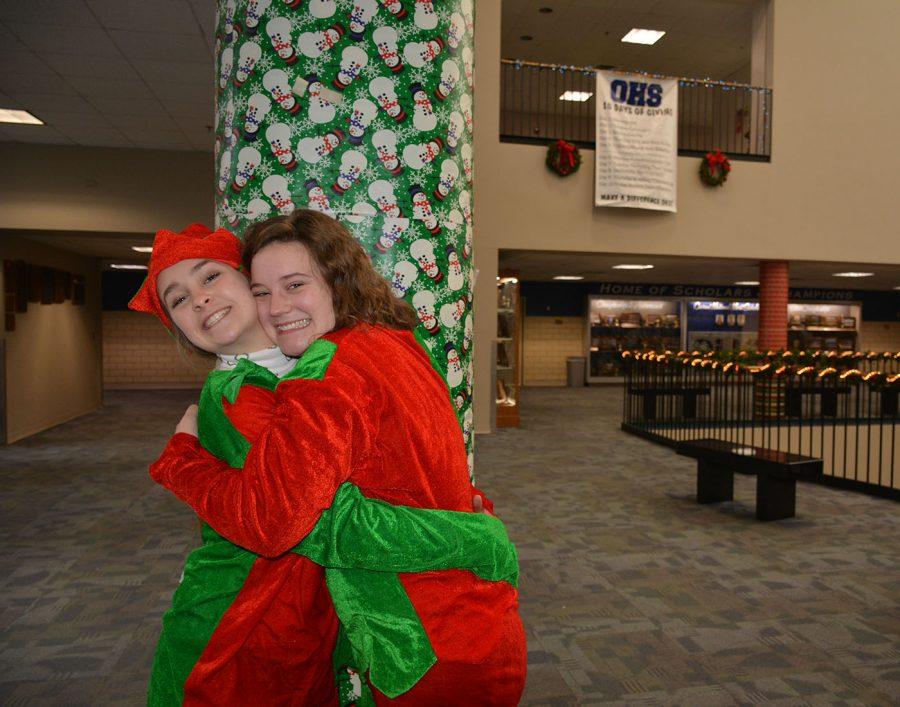 Molly Hawkins and Lauren Arthur in the Christmas spirit