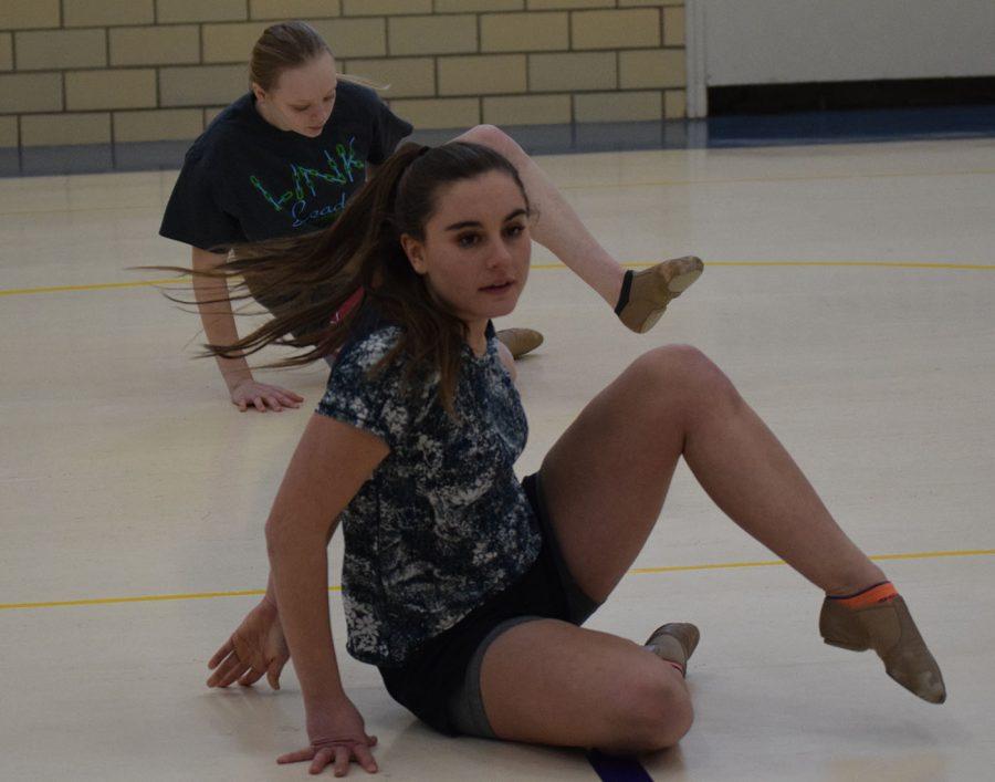 Elise Sande and Julia Dallenbach practice their dance