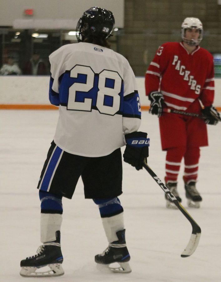 Tommy Lehrer skates on the ice