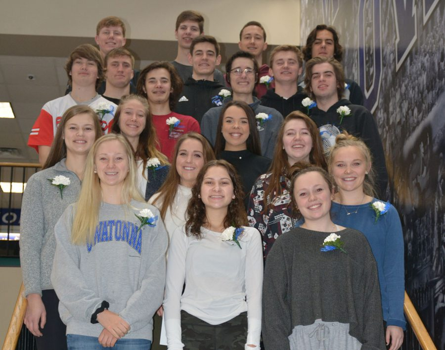 2019 Snow Week Royalty Front: Annika Harper, Emily Beckmann, Taylor Woltman. Second: Julia Hansen, Regan Ihlenfeld, Kenna Brown. Third; Lydia Rieck, Jasmyn Harris and Kenna DaMitz. Fourth: Casey Cumberland, Patrick Donlon, Francis Donlon, Dakota Savoie.  Fifth: Cade King, Steven Eckard, Cole Deason. Back row: Jared Fett, Jake DeLeeuw, Carter Kuehn, Luke Kubicek.  Not pictured: Thomas Earl, Thomas Lehrer, Sophia Gieseke, Elana Dant, Emily Rahrick.