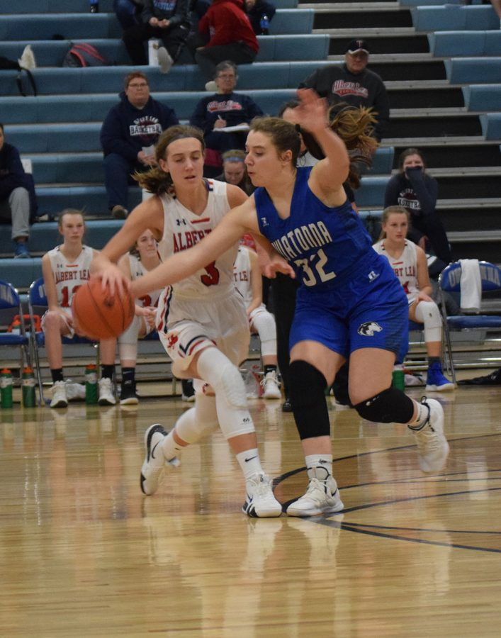 Emma Dahnert steals the ball