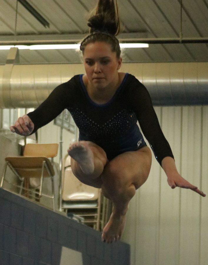 Lindsay Bangs during her beam routine