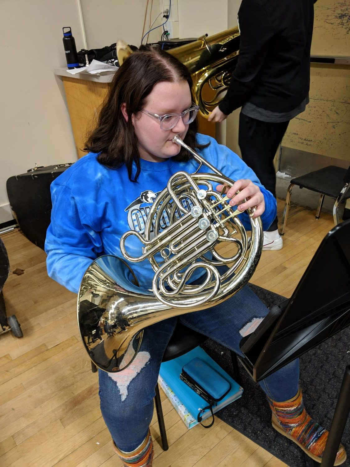 Egbert playing her french horn