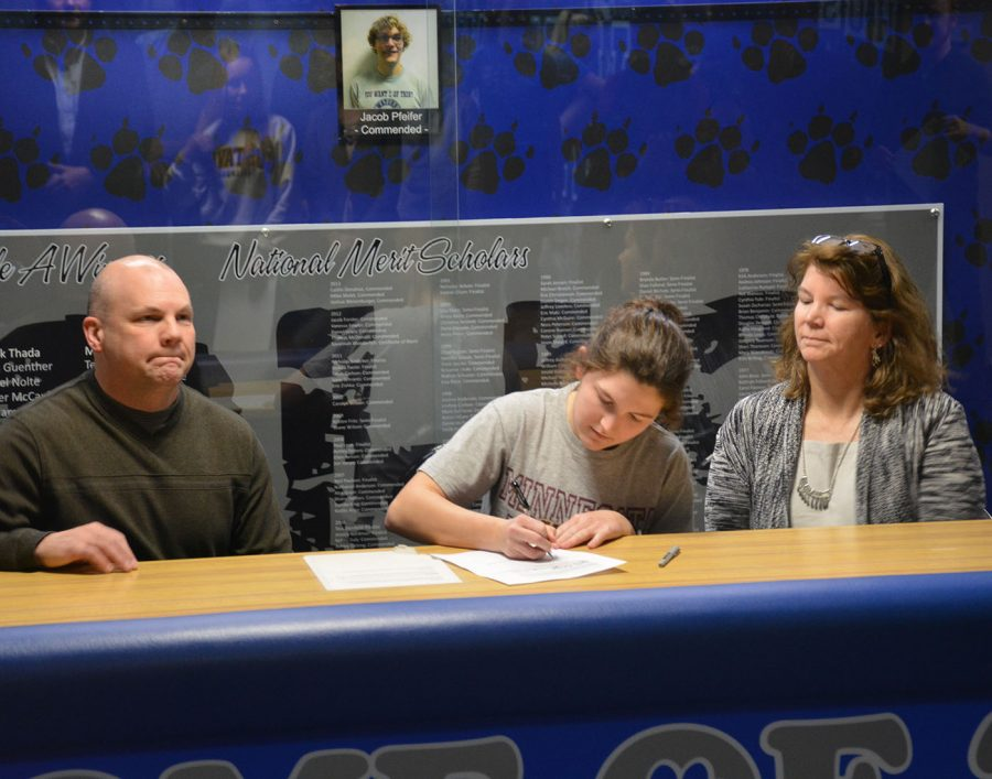 Emily Rahrick signed with the University of Minnesota-Duluth to play tennis