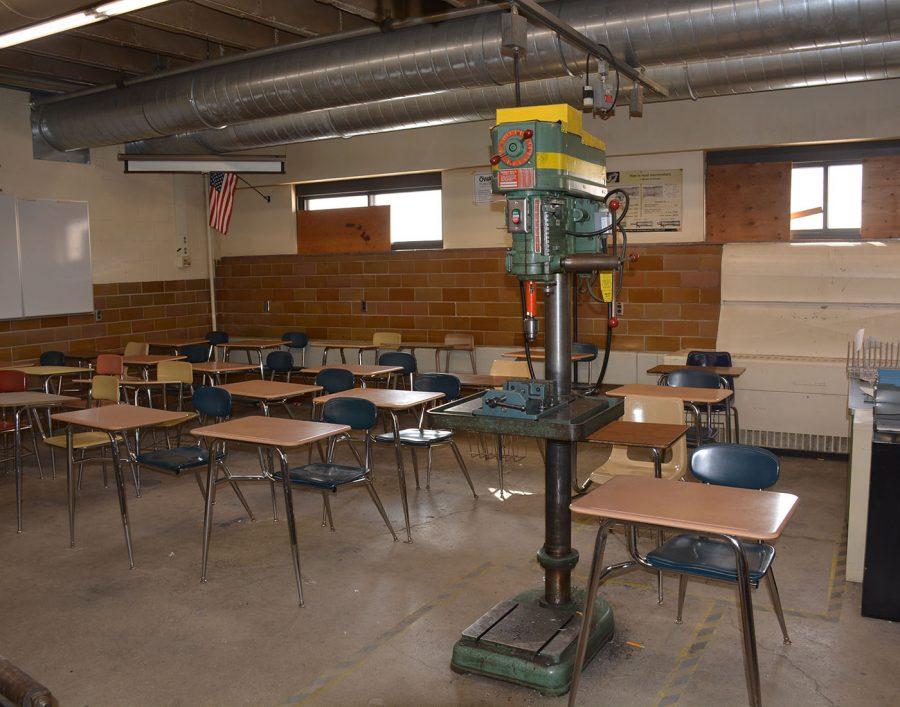 Desks in Industrial tech room