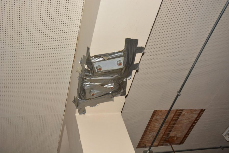 Taped up ceiling